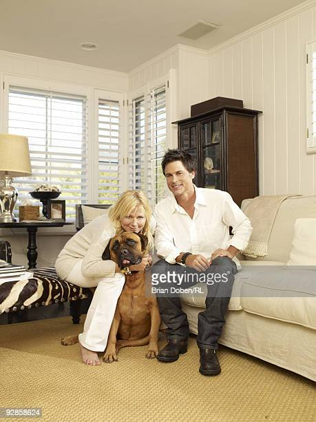 Rob Lowe his wife Sheryl Lowe and their dog Ruby pose for a portrait in their home on September 5 in Santa Barbara California All men's and women's...
