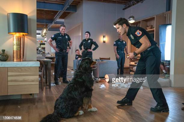 Rob Lowe Jim Parrack Natacha Karam Brian Michael Smith and Ronen Rubinstein in the Monster Inside episode of 911 LONE STAR airing Monday March 2 on...