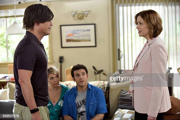 Rob Lowe Mary Elizabeth Ellis Fred Savage and guest star Jenna Fischer in the Genesis episode of THE GRINDER airing Tuesday March 15 on FOX