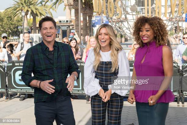 Rob Lowe Renee Bargh and Tanika Ray visit 'Extra' at Universal Studios Hollywood on February 6 2018 in Universal City California