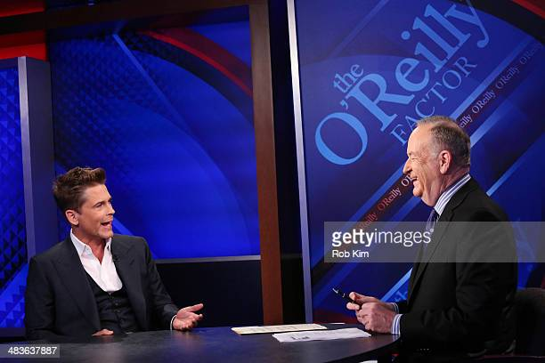 Rob Lowe talks to host Bill O'Reilly at Fox News' 'The O'Reilly Factor' at Fox News Studios on April 9 2014 in New York City