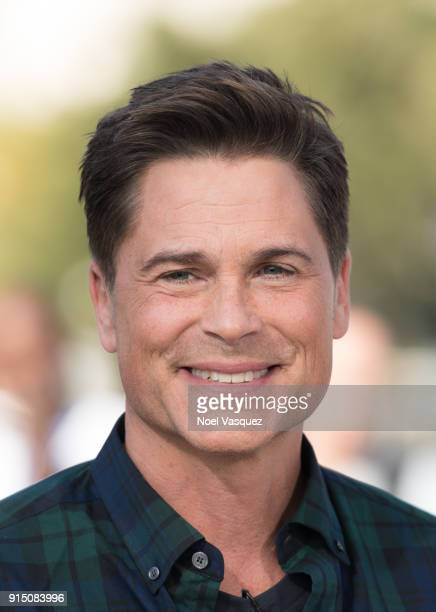 Rob Lowe visits 'Extra' at Universal Studios Hollywood on February 6 2018 in Universal City California