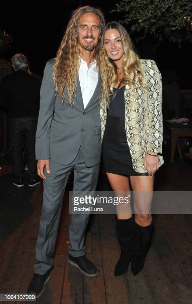 Rob Machado and his wife Sophie Machado attend HBO's Momentum Generation Premiere after party at The Bungalow on November 05 2018 in Santa Monica...
