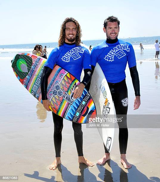 Rob Machado and James Pribram attend the 2009 Project Save Our Surf 1st Annual Surfathon and Oceana Awards at Ocean Park Beach on April 5 2009 in...
