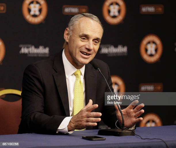 Rob Manfred commissioner of Major League Baseball speaks to the media before the Houston Astros play the Detroit Tigers at Minute Maid Park on May 23...