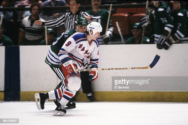 Rob McCLanahan of the New York Rangers skates against the Hartford Whalers during an NHL game circa 1982 in New York City