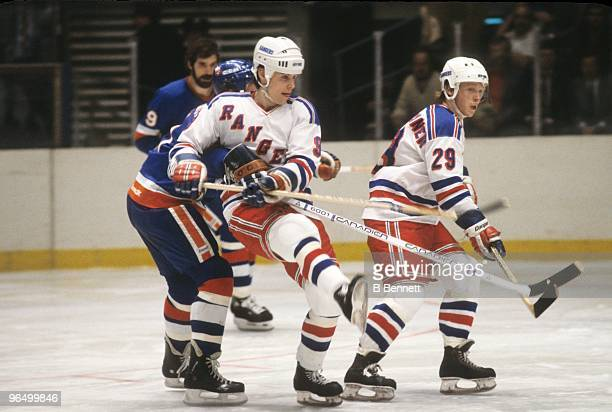Rob McCLanahan of the New York Rangers skates against the New York Islanders during an NHL game circa 1982 in New York City