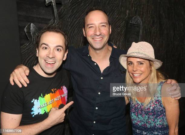Rob McClure Tony Hale and Kerry Butler pose backstage as Beetlejuice celebrates 100 performances on Broadway at The Winter Garden Theatre on July 23...