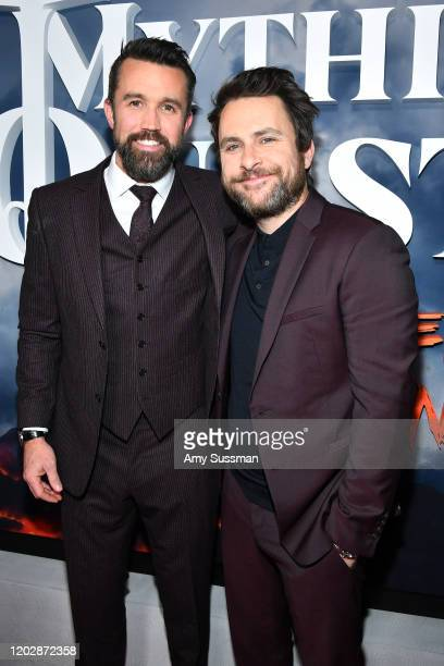 Rob McElhenney and Charlie Day attend the premiere of Apple TV's Mythic Quest Raven's Banquet at The Cinerama Dome on January 29 2020 in Los Angeles...