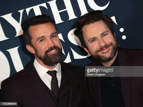 """Rob McElhenney and Charlie Day attend the premiere of Apple TV+'s """"Mythic Quest: Raven's Banquet"""" at The Cinerama Dome on January 29, 2020 in Los..."""