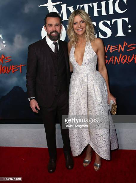 Rob McElhenney and Kaitlin Olson attend the premiere of Apple TV's Mythic Quest Raven's Banquet at The Cinerama Dome on January 29 2020 in Los...