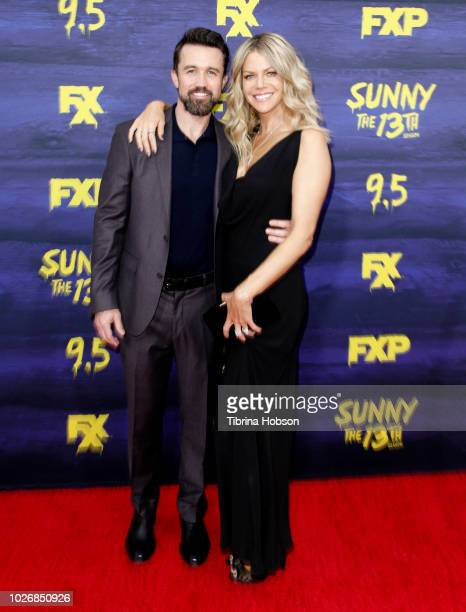Rob McElhenney and Kaitlin Olson attend the premiere of FXX's 'It's Always Sunny In Philadelphia' season 13 at Regency Bruin Theatre on September 4,...