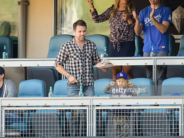 Rob McElhenney and Leo Grey McElhenney attend a baseball game between the Washington Nationals and Los Angeles Dodgers at Dodger Stadium on October...