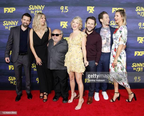 Rob McElhenney, Kaitlin Olson, Danny DeVito, attend the premiere of FXX's 'It's Always Sunny In Philadelphia' season 13 at Regency Bruin Theatre on...