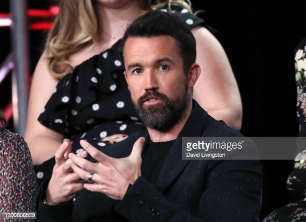 Rob McElhenney of Mythic Quest Raven's Banquet speaks on stage during the Apple TV segment of the 2020 Winter TCA Tour at The Langham Huntington...