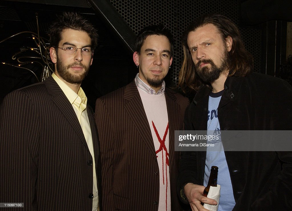 Rob & Mike of Linkin Park with Rob Zombie during Warner Entertainment 2004 Grammy Party at Kitano Japanese Restaurant in Los Angeles, CA, United States.