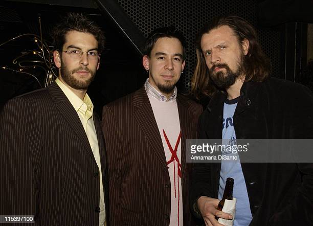 Rob Mike of Linkin Park with Rob Zombie during Warner Entertainment 2004 Grammy Party at Kitano Japanese Restaurant in Los Angeles CA United States