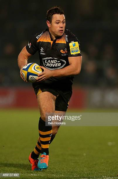 Rob Miller of Wasps in action during the Aviva Premiership match between Wasps and London Welsh at Adams Park on November 16, 2014 in High Wycombe,...