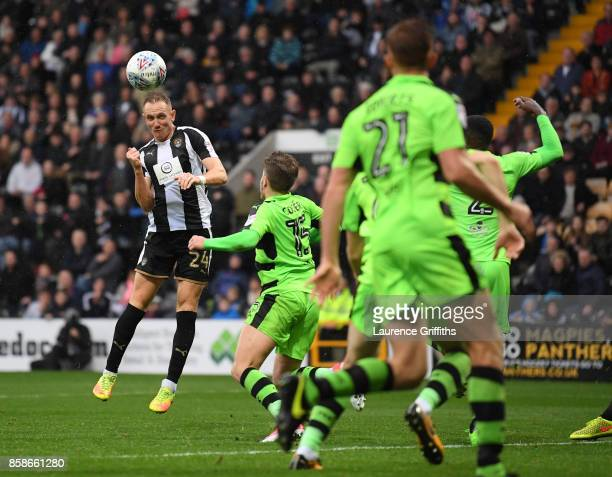 Rob Milsom of Notts County scores the equalising goal in the last minute of injury time during the Sky Bet League Two match between Notts County and...