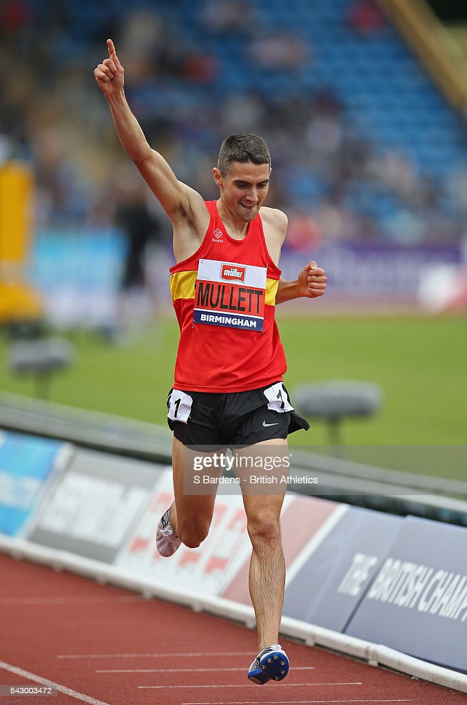 Rob Mullett of Great Britain celebrates his victory in the men's 3000M Steeplechase final on day two of the British Championships Birmingham at Alexander Stadium on June 25, 2016 in Birmingham, England.