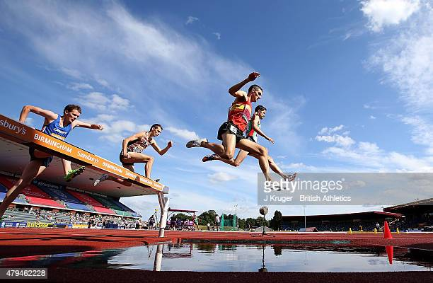 Rob Mullett of Great Britain wins the mens 3000m steeplechase final during day two of the Sainsbury's British Championships at Birmingham Alexander...