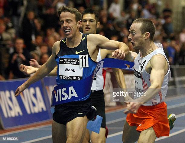 Rob Myers narrowyly beats out Alan Webb in the Mens 1500m run during day one of the 2009 AT&T USA Indoor Track and Field Championships on February...