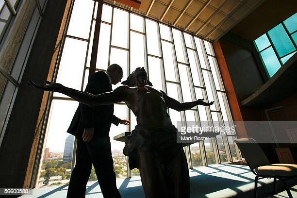 Rob Neal, Chairman of the Architecture and Renovation Committee for Christ Cathedral tours the chapel in the Tower Of Hope on the grounds of the...