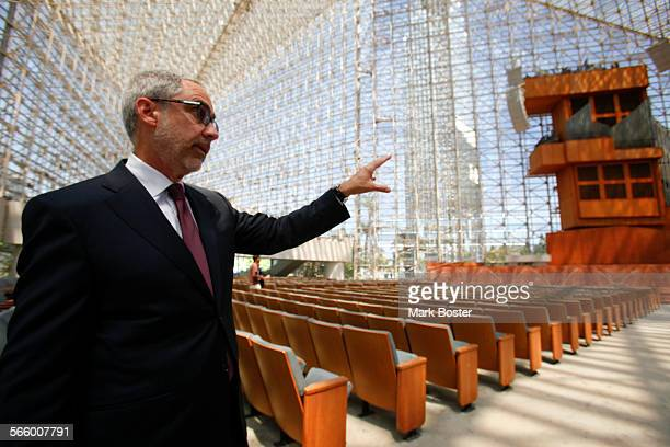 Rob Neal, Chairman of the Architecture and Renovation Committee for Christ Cathedral shows visitors how the former Crystal Cathedral in Garden Grove...