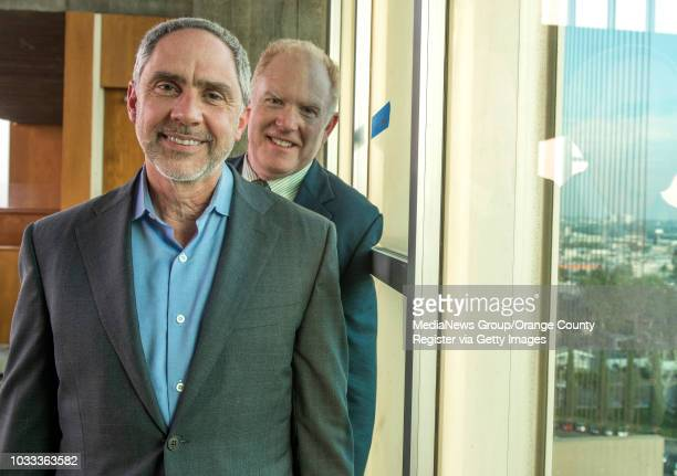 Rob Neal, left, chairman of the architecture and renovation committee for Christ Cathedral and renovation architect Jim Wirick are shown on the 13th...