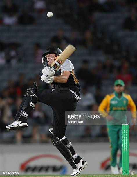 Rob Nicol of the Black Caps bats during the International Twenty20 match between New Zealand and South Africa at Eden Park on February 22 2012 in...