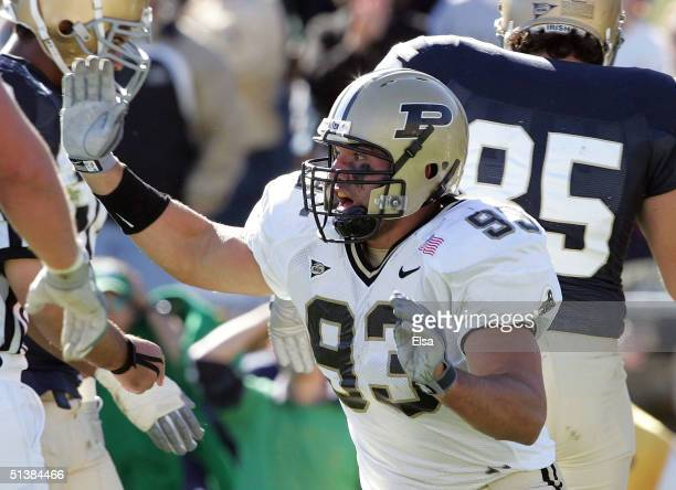 Rob Ninkovich of the Purdue Boilermakers celebrates after his team recovered a fumble by Darius Walker of the Notre Dame Fighting Irish on October 2,...