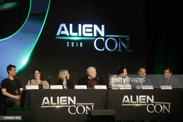 Rob O'Brien Kim Sheerin Susan Leventhal Kevin Burns Giorgio A Tsoukalos David Silver and Max Thompson speak onstage at the Ancient Aliens Meet The...