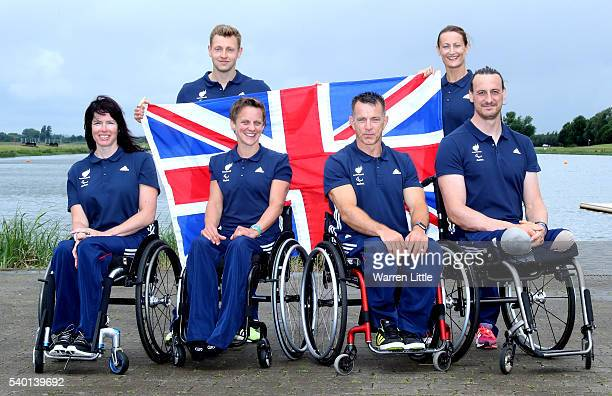 Rob Oliver Anne Dickens Jeanette Chippington Emma Wiggs Ian Marsden and Nick Beighton of Great Britain pose after an announcement of paracanoe Sprint...