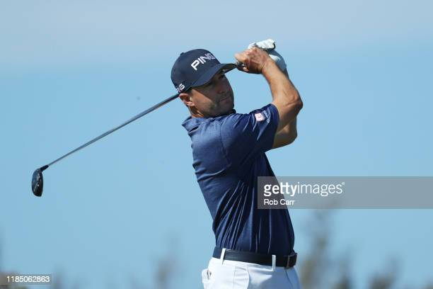 Rob Oppenheim of the United States plays a shot from the first tee during the third round of the Bermuda Championship at Port Royal Golf Course on...
