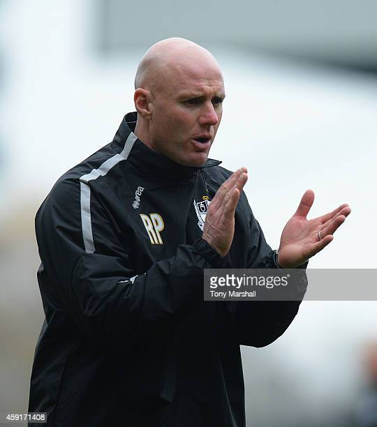 Rob Page Manager of Port Vale during the warm up before the Sky Bet League One match between Port Vale and Rochdale at Vale Park on November 15 2014...