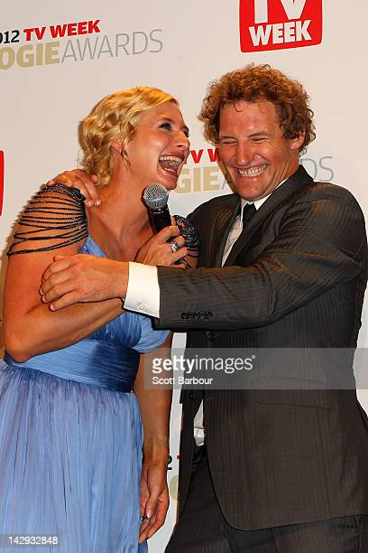 Rob Palmer and Johanna Griggs pose after winning the Logie with Better Homes and Gardens for Most Popular Lifestyle Program at the 2012 Logie Awards...