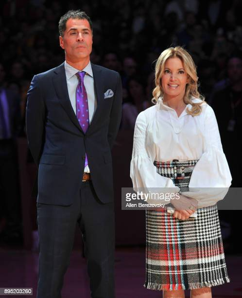 Rob Pelinka and Jeanie Buss attend Kobe Bryant's jersey retirement ceremony during a basketball game between the Los Angeles Lakers and the Golden...