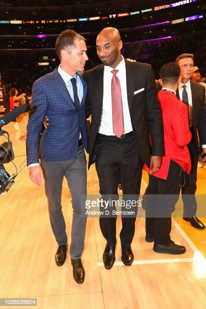Rob Pelinka and Kobe Bryant talks during the game between the Denver Nuggets and Los Angeles Lakers on October 25 2018 at STAPLES Center in Los...