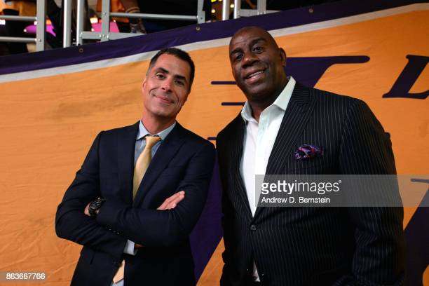 Rob Pelinka and Magic Johnson of the Los Angeles Lakers before the game against the LA Clippers during the game on October 19 2017 at STAPLES Center...