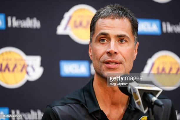 Rob Pelinka discusses the upcoming Los Angeles Lakers' season at UCLA Health Training Center on September 20 2018 in El Segundo California