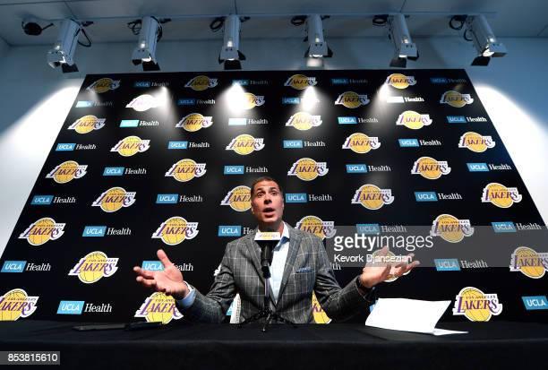 Rob Pelinka General Manager of Los Angeles Lakers speaks during Los Angeles Lakers Media Day September 25 in El Segundo California NOTE TO USER User...
