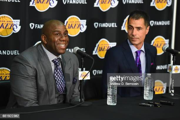 Rob Pelinka is introduced as the new Lakers General Manager by Magic Johnson at Toyota Sports Center on March 10 2017 in El Segundo California NOTE...