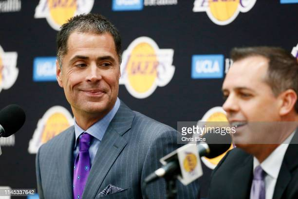 Rob Pelinka of the Los Angeles Lakers introduces Frank Vogel as the new head coach during a press conference on May 20 2019 at the UCLA Health...