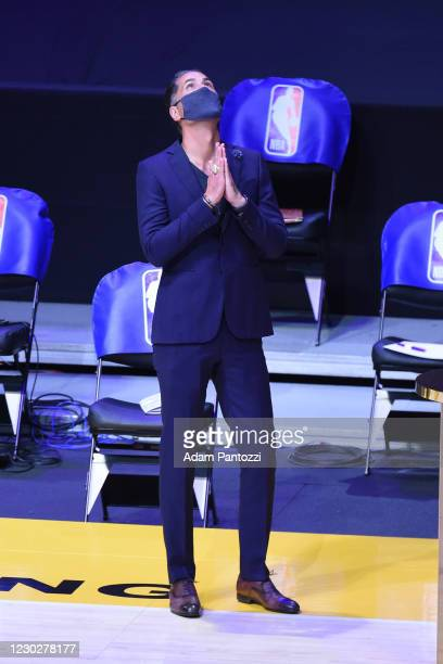 Rob Pelinka of the Los Angeles Lakers reacts as he gets his 2019-20 NBA Championship ring during the ring ceremony before the game against the LA...