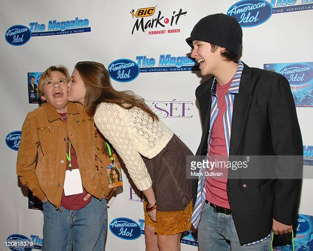 Rob Pinkston Lindsey Shaw and Devon Werkheiser during 'American Idol' Season 5 Launch Party in Los Angeles California United States