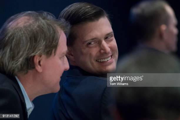 Rob Porter right White House staff secretary and Don McGahn White House counsel attend a luncheon featuring a speech by President Donald Trump at the...