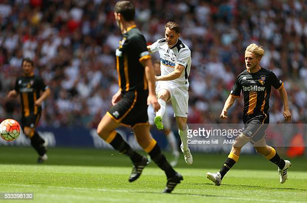 Rob Purdie of Hereford United scores a goal to make it 10 during The FA Vase Final match between Hereford FC and Morpeth Town at Wembley Stadium on...
