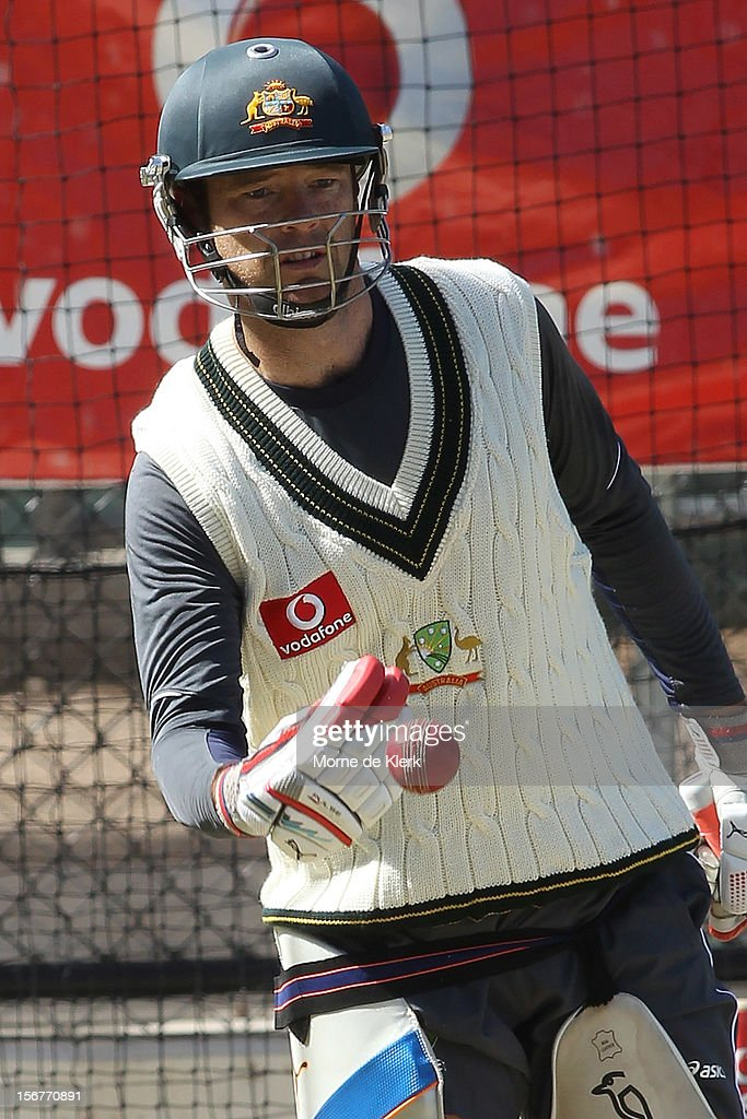 Rob Quiney in the nets during an Australian training session at Adelaide Oval on November 21, 2012 in Adelaide, Australia.