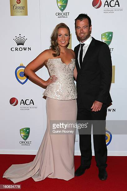 Rob Quiney of Australia and his partner Helen Arblaster arrive at the 2013 Allan Border Medal awards ceremony at Crown Palladium on February 4 2013...