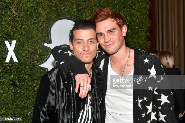 Rob Raco and KJ Apa attends Teen Vogue's 2019 Young Hollywood Party Presented By Snap at Los Angeles Theatre on February 15 2019 in Los Angeles...